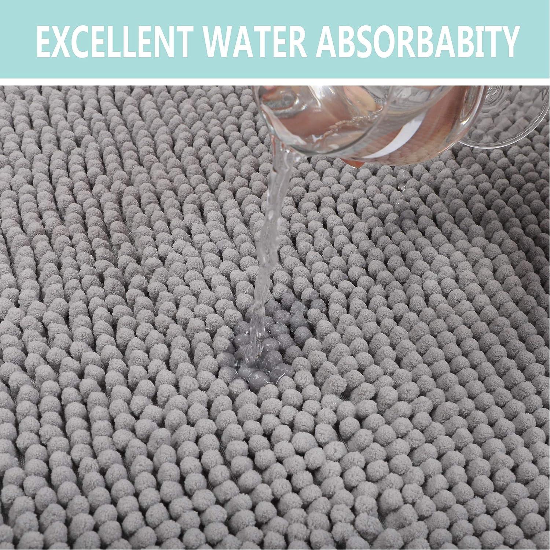 gris claro Chenilla 50x120cm Homcomodar Alfombrilla de ba/ño antideslizante lavable de chenilla extra larga alfombra de ba/ño para ba/ño