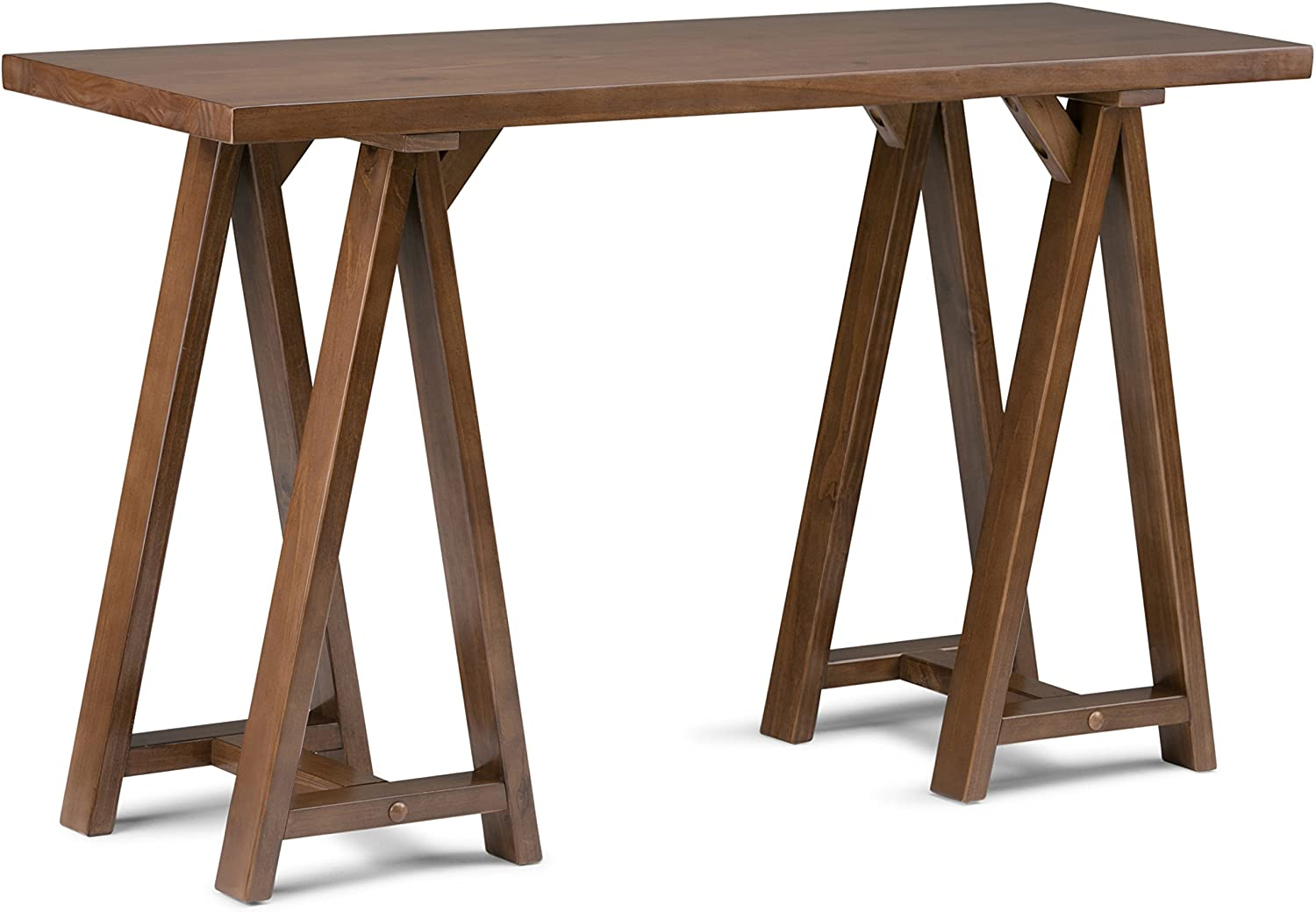 Simpli Home 3AXCSAW-03 Sawhorse Solid Wood 50 inch Wide Modern Industrial Console Sofa Table in Medium Saddle Brown