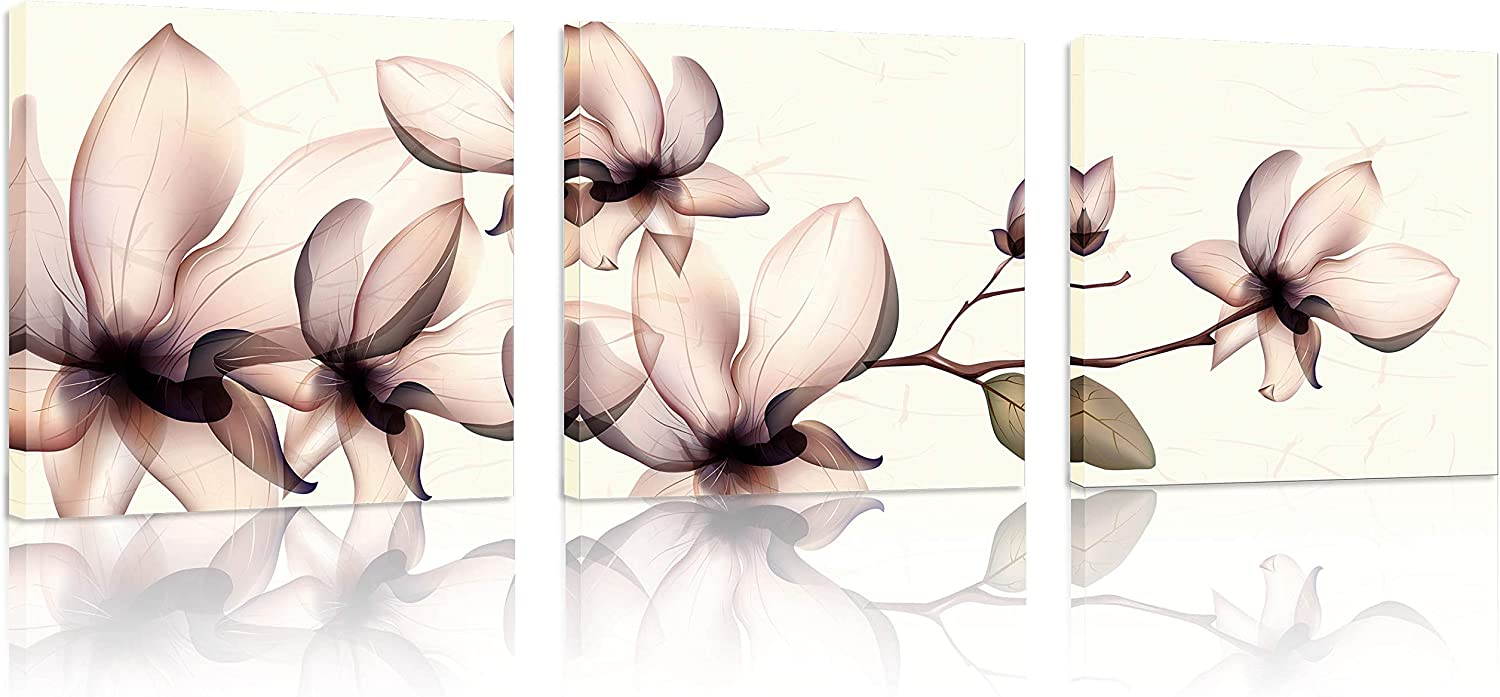 Natural art 3 Panels Flower Canvas Print Wall Art Painting Modern Home Decorations for Living Room Decor 12x12inches 3 Pieces