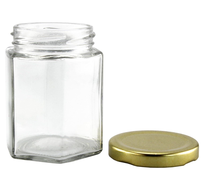 Amazon.com: 6-Ounce Hexagon Glass Jars (12-Pack); Empty Hex Jars w ...