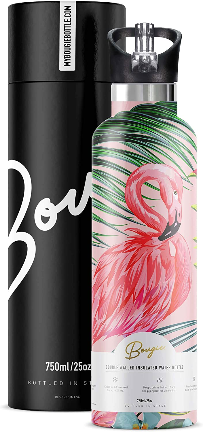 Water Bottle Stainless Steel with Straw | Wide Mouth Double Insulated | Cute Flamingo Gifts for Women | Easy Sip | Leak Proof Lid | BPA Free | Hot and Cold | Free Ice Tray and Pipe Cleaner | 25 oz