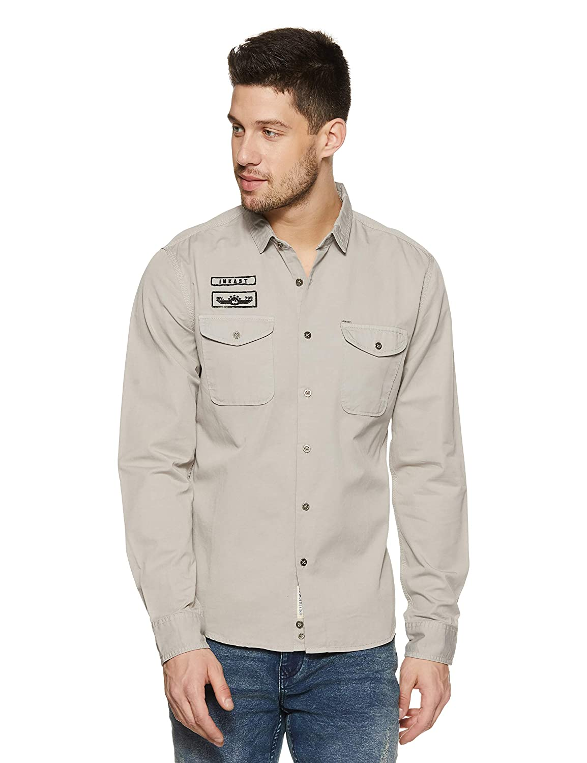 Denim Co. Men's Solid Slim Fit Full Sleeve Cotton Casual Shirt