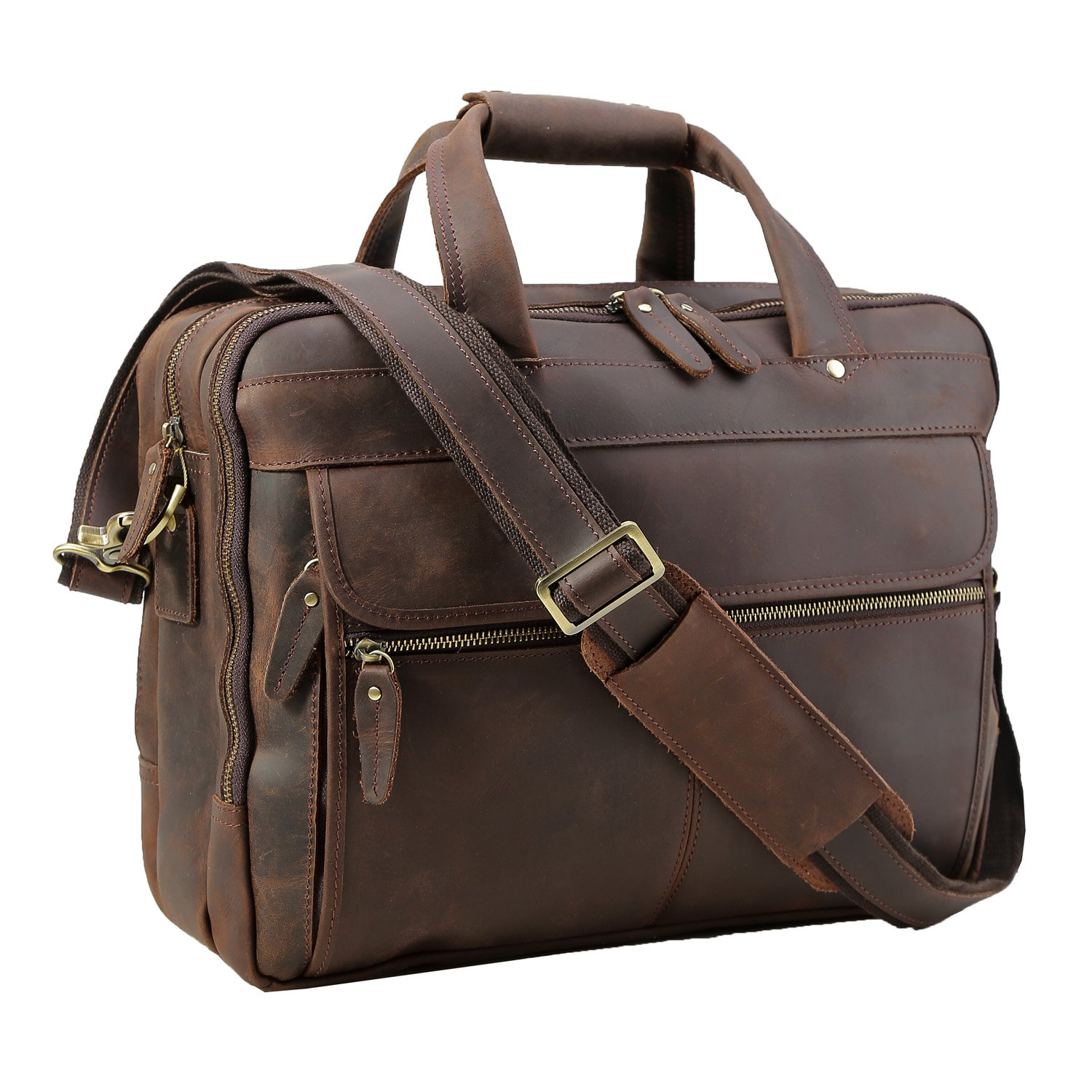 Polare Men's Thick Full Grain Leather 15.7'' Laptop Business Briefcase by Polare
