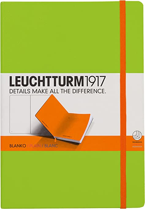 LEUCHTTURM1917 (343149) Notebook Medium (A5), Hardcover, 249 Numbered Pages, Bicolore,Plain, LimeOrange