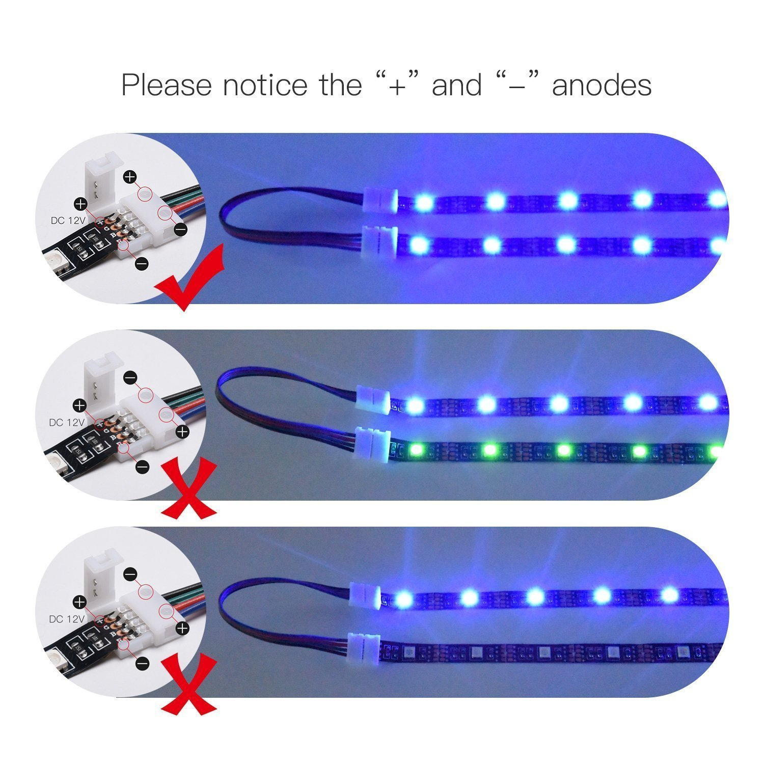 RGB Extension Wire Cable 4 Pin JACKYLED/10m//32.8ft Ribbon Cord LED Strip Light RGB Connector for 5050 LED Light Strip LED Splitter Connectors Kit