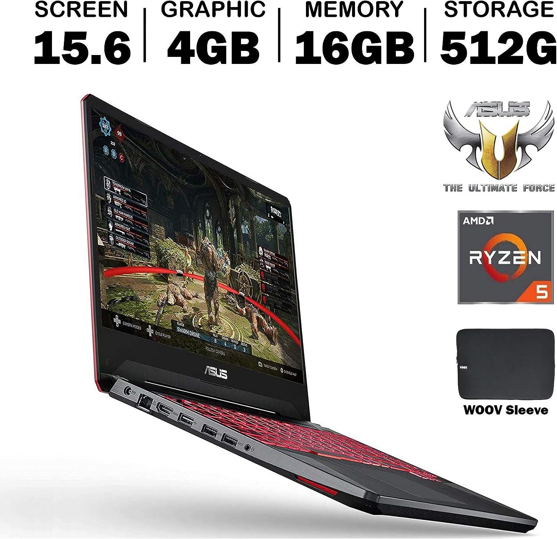 ASUS TUF FX505DT 15.6 Inch Full HD IPS Gaming Laptop, GeForce GTX 1650 4GB, AMD Ryzen 5 R5-3550H (Beat i7-7700HQ), 16GB DDR4, 512GB PCIe SSD, RGB Backlit Keyboard, Windows 10, Woov Sleeve