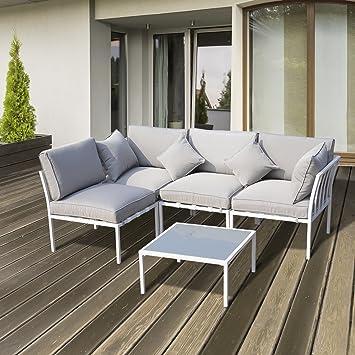 Outsunny Ensemble Salon de Jardin Design Contemporain 4 Places modulables 5  pièces 8 Coussins 4 oreillers Table Basse Acier Polyester Gris Blanc