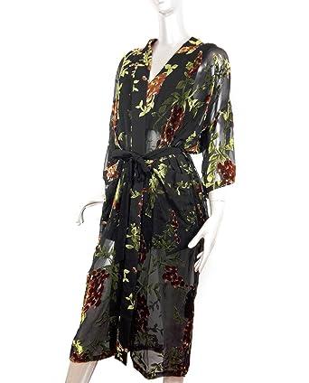 Zara Women Floral Velvet Kimono 2731/053 (Medium) at Amazon Womens Clothing store: