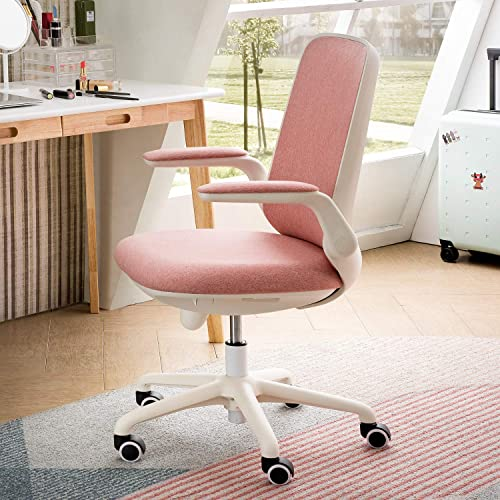 OVIOS Office Chair,Water Resistant Fabric Desk Chair for Dresser and Home Office,Modern,Comfortble,Nice Tash Chair for Computer Desk. White-Pink
