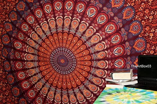 The Art Box Queen Indian Mandala Cotton Tapestry Hippie Hippy Wall Hanging Throw Bedspread Dorm Tapestry Decorative Wall Hanging, Picnic Beach Sheet Coverlet, Tapestries, Throw, Bohemian Bedspread