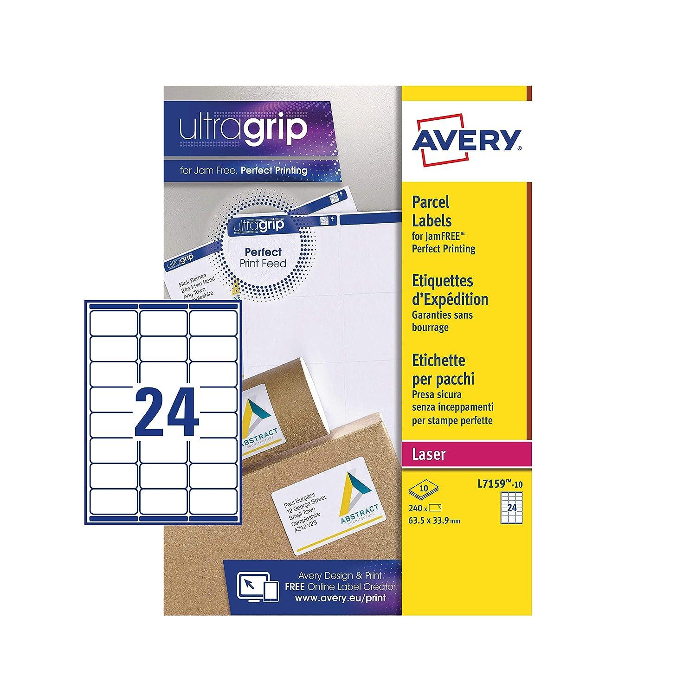24 Labels Per A4 Sheet Laser Printers 240 Labels L7159 Avery Self Adhesive Address Mailing Labels UltraGrip