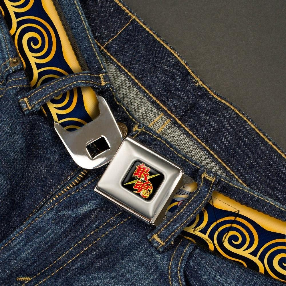 20-36 Inches in Length Kintoki Kimono Waves Gold//Navy 1.0 Wide Buckle-Down Seatbelt Belt