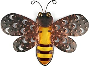Metal Bee Wall Art. Nature Inspired Bumble Bee Decor for Hanging Indoor or Outdoor. Garden, Back Yard, Patio, Home or Office. Size: 11.81 x 8.66 x 0.98 inches. Made from Iron and Glass.