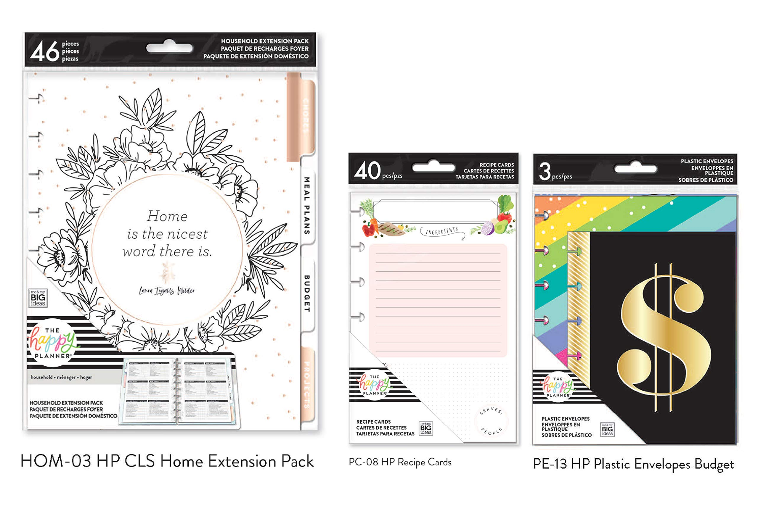 The Happy Planner Home Extension Bundle (Classic/Medium Home Extension Pack, HP Envelopes Budget, HP Recipe Cards) (HOM-03, PC-08, PE-13)(3 Items) by Me & My Big Ideas