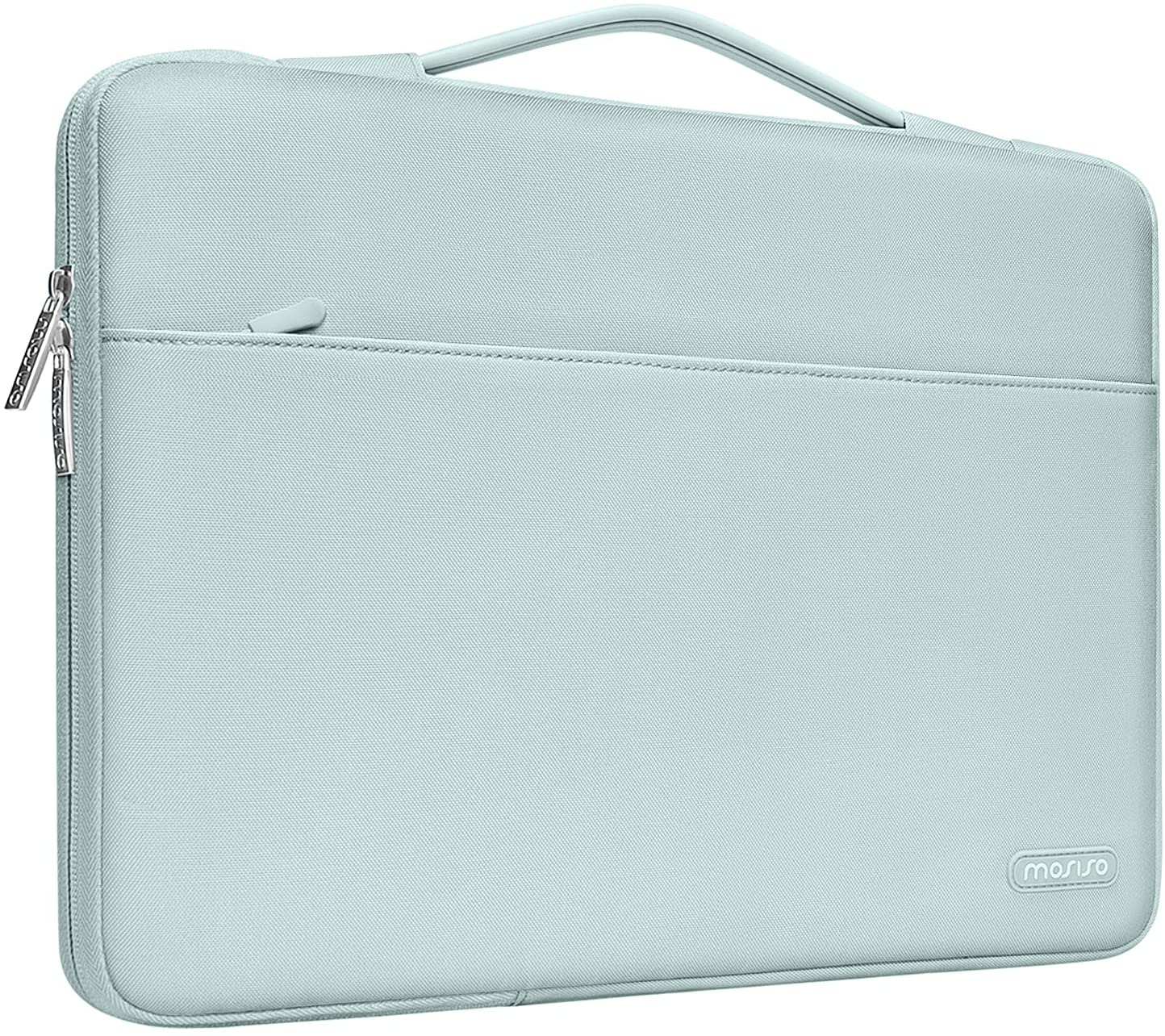 MOSISO 360 Protective Laptop Sleeve Compatible with MacBook Pro 16 inch, 15 15.4 15.6 inch Dell HP Asus Acer Samsung Sony Chromebook, Polyester Bag with Trolley Belt, Mint Green
