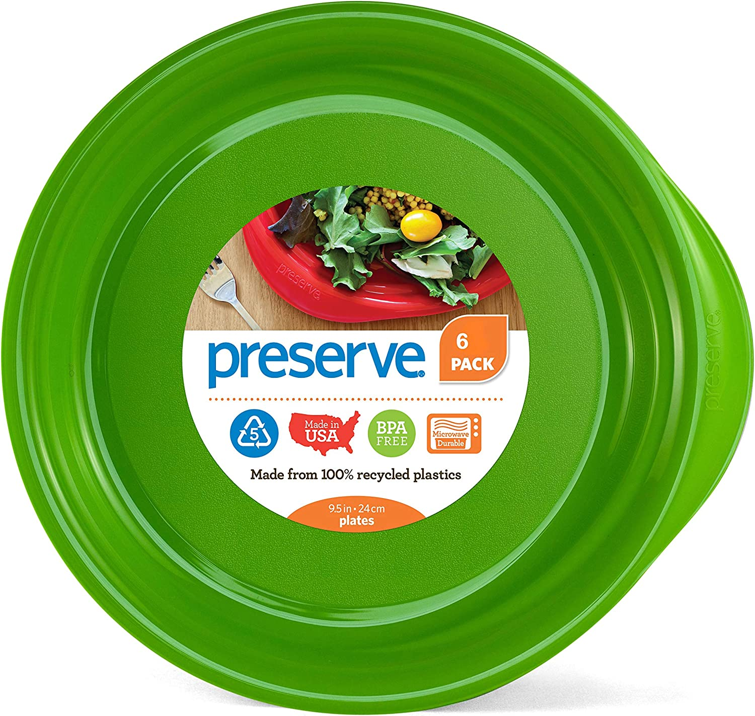 Preserve Everyday BPA Free Dinner Plates Made from Recycled Plastic in the USA, Set of 6, Apple Green