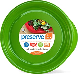 product image for Preserve Everyday BPA Free Dinner Plates Made from Recycled Plastic in the USA, Set of 6, Apple Green