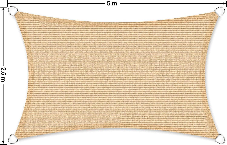 Schermo UV Tenda a Vela in HDPE per Giardino Terrazzo Balcone Giallo Sabbia GSS25EY SONGMICS Vela Ombreggiante 2,5 x 5 m Respirante