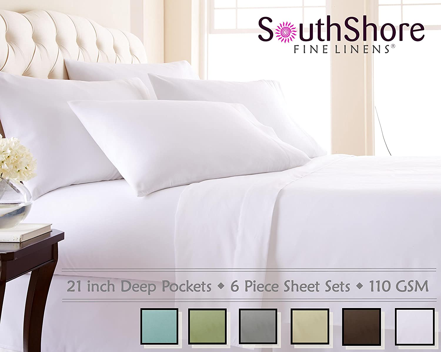Extra deep pocket queen fitted sheets - Amazon Com Southshore Fine Linens 6 Piece Extra Deep Pocket Sheet Set White King Home Kitchen