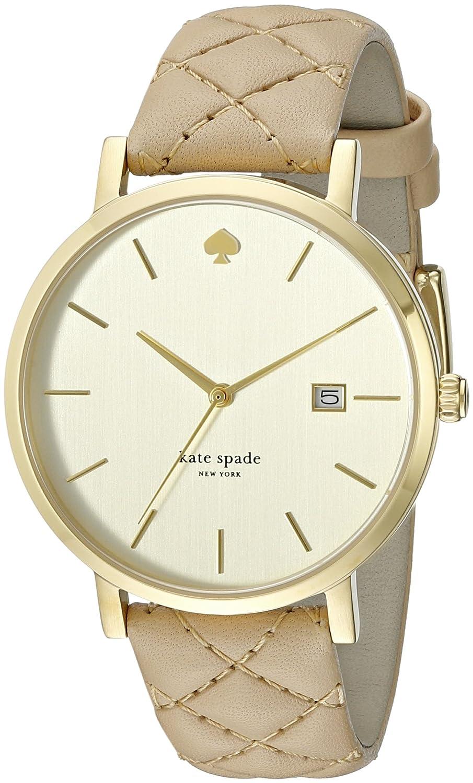 Kate Spade New York Metro Grand Damen-Armbanduhr 38mm Armband Leder Beige Quarz Zifferblatt Gold 1YRU0844