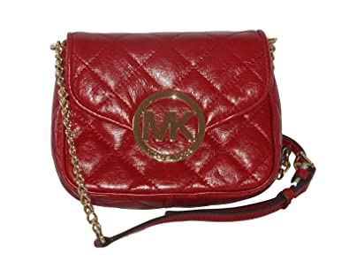 0fea163eae53 Image Unavailable. Image not available for. Color  Michael Michael Kors  Fulton Small Quilted Crossbody Dark Red gold