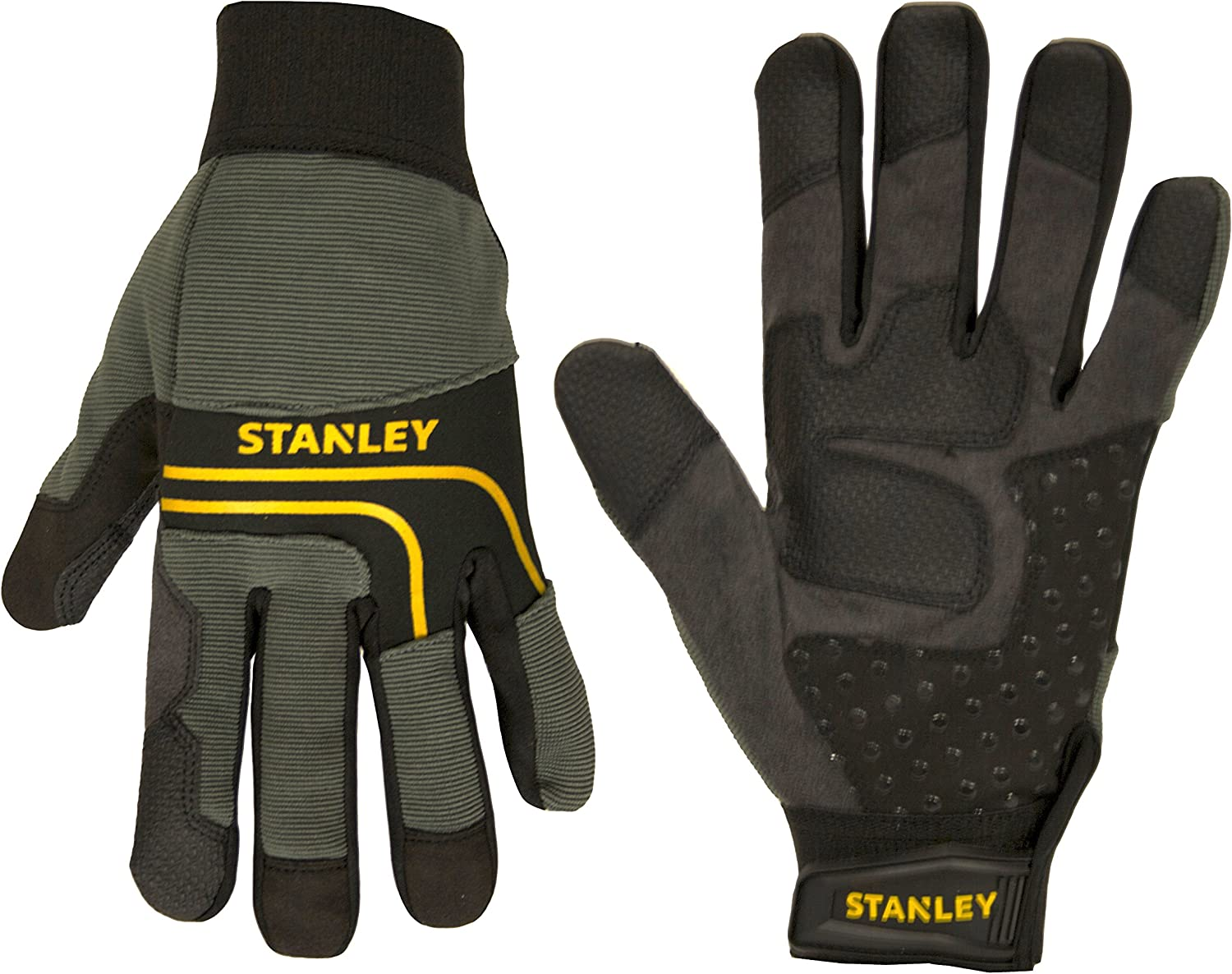 Stanley Synthetic Leather Multi Purpose Work Gloves With Silicone Dotting And Pvc Reinforcements Medium Black Amazon Com