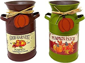 "S/2 Milk Can/Pumpkin Patch & Good Harvest/Metal Vase Vintage Rustic Seasonal Fall Thanksgiving Decor 7.5"" H"