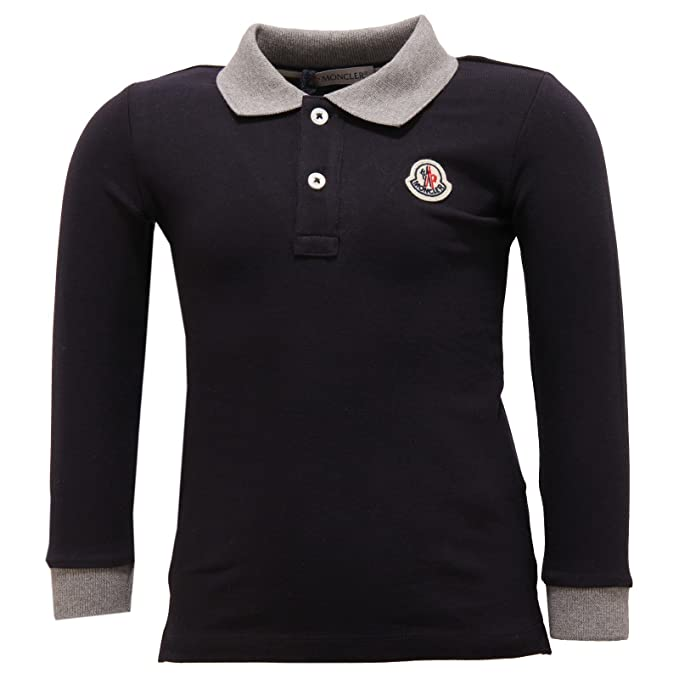 MONCLER 2428V Polo Bimbo Maglia Blue Polo t-Shirt Long Sleeve Kid ...