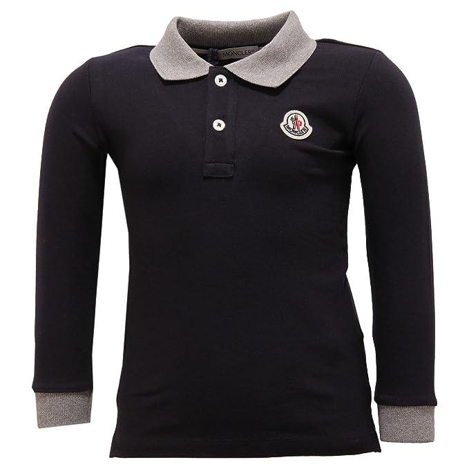 MONCLER 2428V Polo Bimbo Maglia Blue Polo t-Shirt Long Sleeve Kid ...