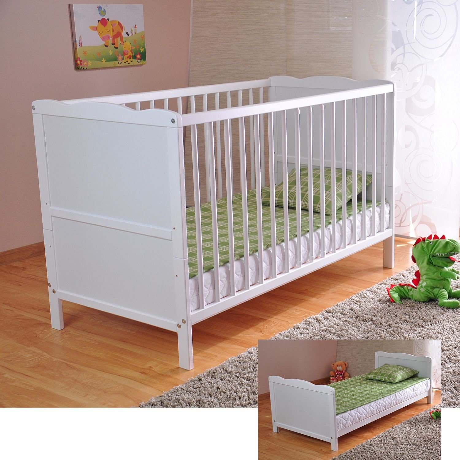 COT BED/JUNIOR BED IN LUXURY WHITE FINISH WITH FREE MATTRESS (140 x 70cm) B4Beds©