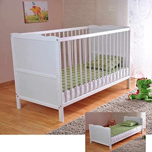 COT BED/JUNIOR BED IN LUXURY WHITE FINISH WITH FREE MATTRESS (120 x 60)