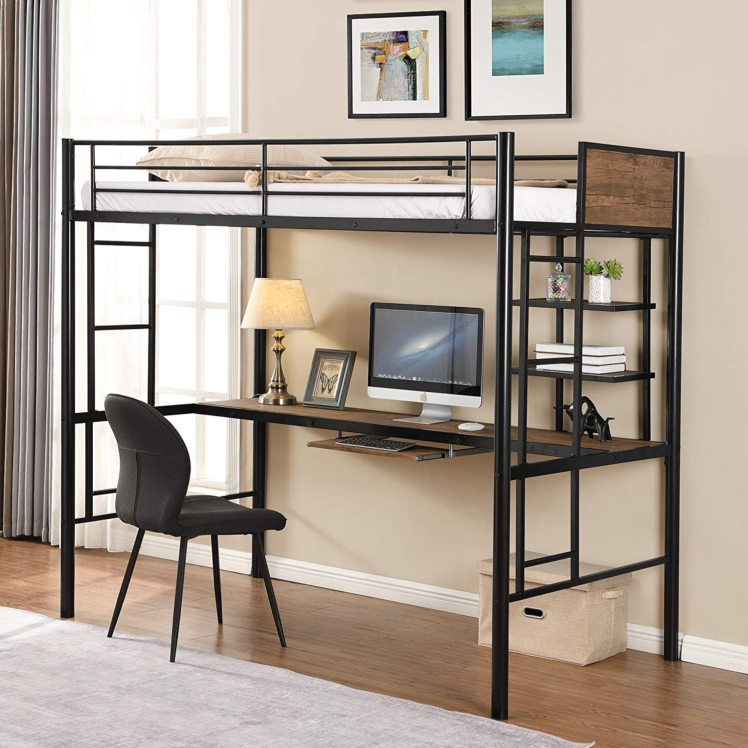 Metal Loft Bed Studio Loft Bunk Bed Over Desk and Bookcase with 2 Ladders and Keyboard Tray,Twin Loft Bed for Dorm, Boys & Girls Teens Kids, Black