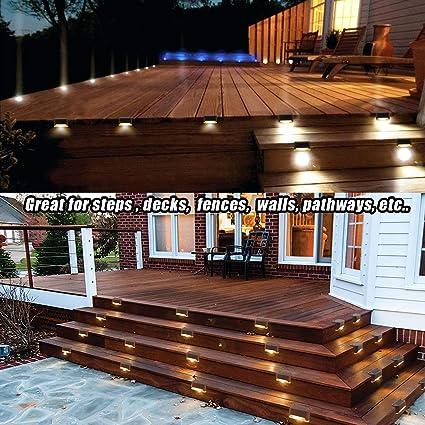 Luces solares LED impermeables para exteriores, luces solares de seguridad para escalones, caminos, terrazas, jardines, patios, vallas, escaleras, paquete de 3: Amazon.es: Iluminación