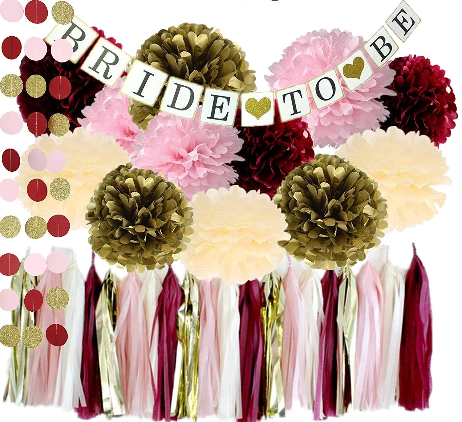 Bachelorette Party Decorations Kit Burgundy Pink Glitter Gold Ivory Tissue Pom Poms Tassel Garland Bride to Be Banner Decorations Wedding Bridal Shower Engagement Party Decorations