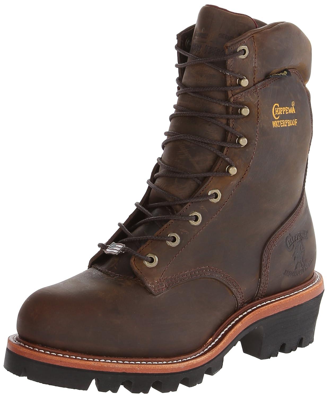 59474ee46a6 Chippewa Men's 9-Inch Bay Apache Waterproof Steel-Toe Super Logger Boot