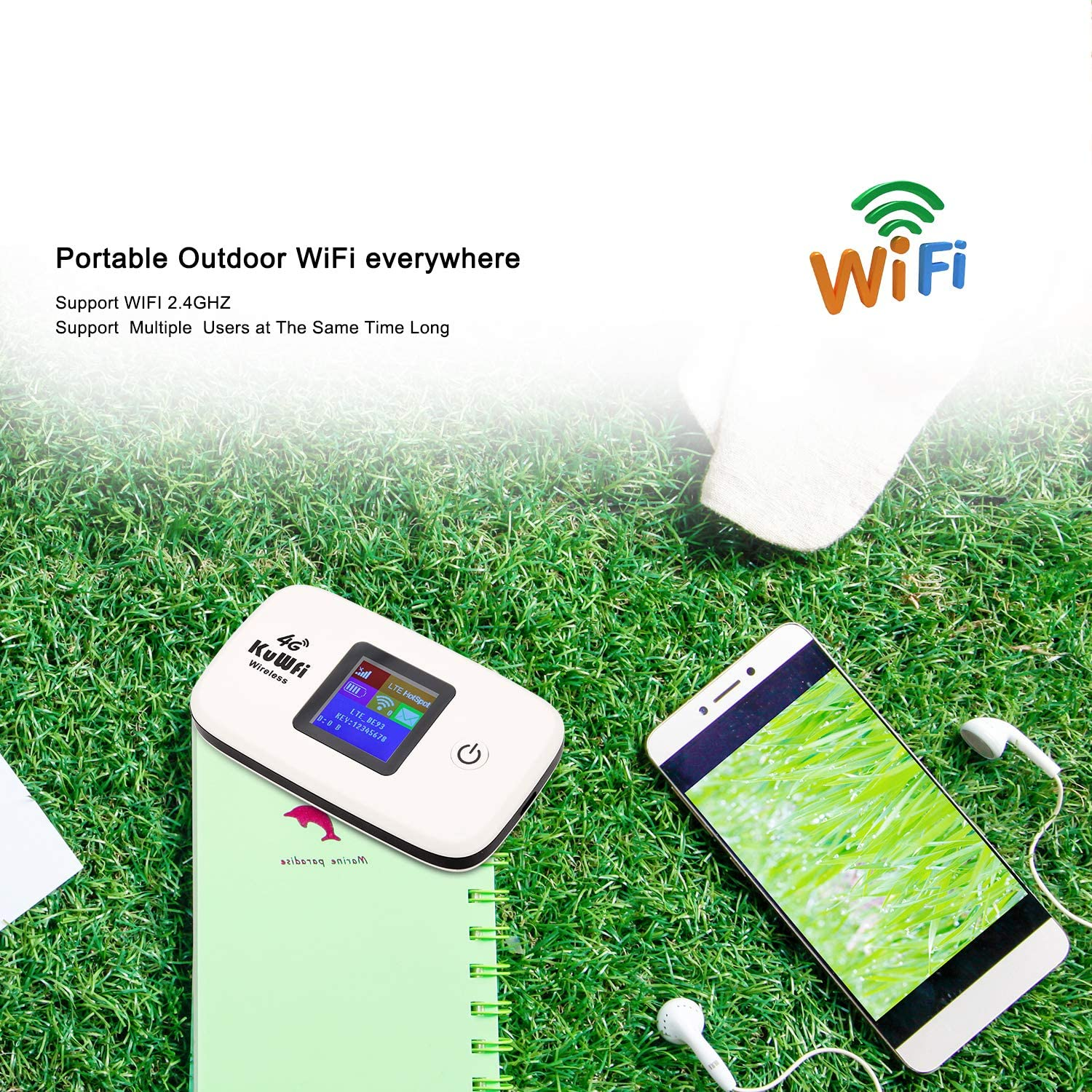 KuWFi 4G LTE Mobile Hotspot Portable WiFi Unlocked Travel Router with SIM Card Slot and TF Card Slot Support B2//B4//B5//B12//B17 for United States Canada Mexico