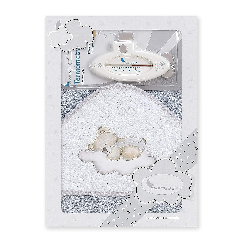 Beige term/ómetro de ba/ñera Personalizada con nombre bordado del bebe./… Capa de ba/ño bebe Oso nube