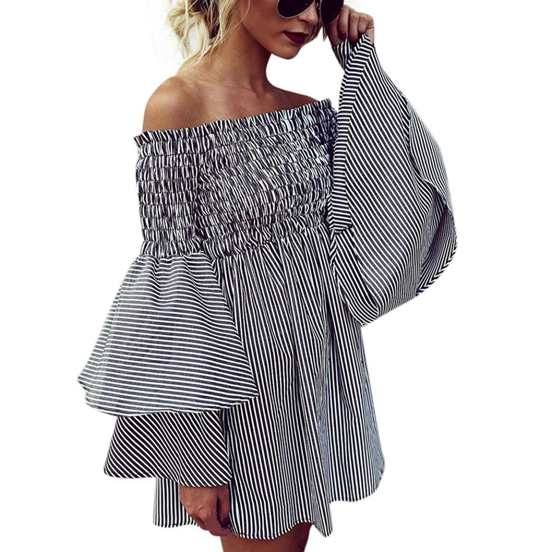 DBolomm Women Dress, Womens Holiday Off Shoulder Stripe Party Ladies Casual Beach Dress Long Sleeve Mini Dress