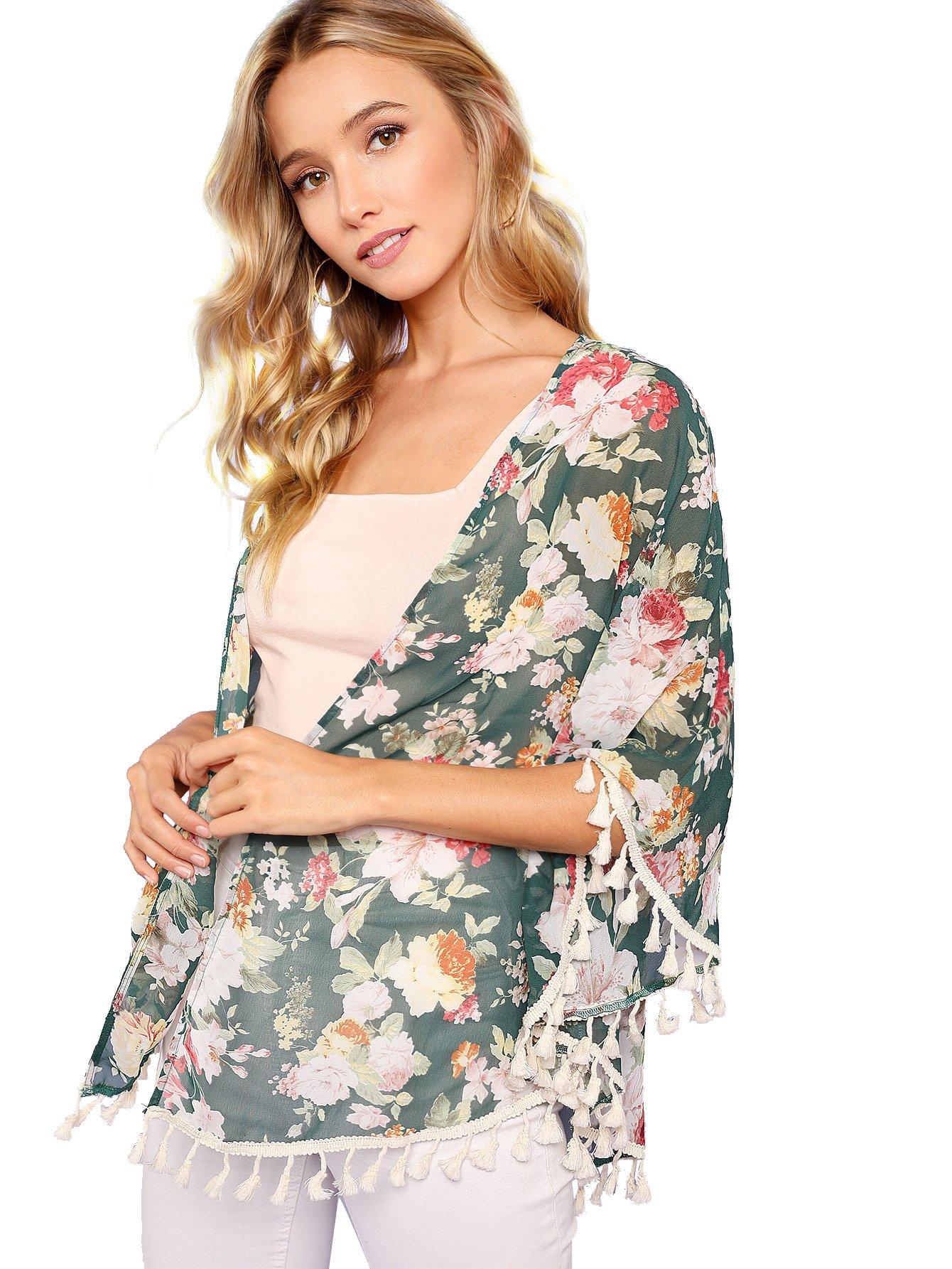 Milumia Women's Printed Shawl Kimono Cardigan Tops Cover up Blouse Green S