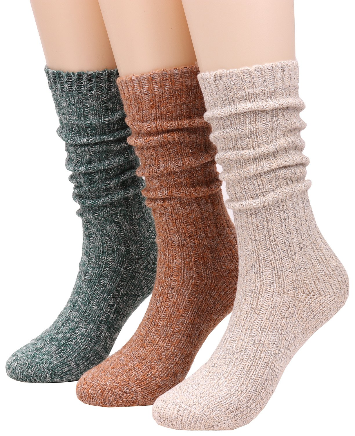 3 Pairs Women Warm Mid Calf Wool Knit Cable Knee High Boot Crew Socks,Size 5-10 W56 (soild color)