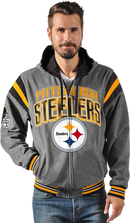 4x NFL Pittsburgh Steelers Mens Sportsman Waterproof Windbreaker Jacket Black