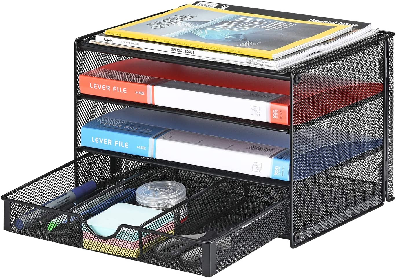 Samstar Paper Letter Tray, 48 Tier Desk Document File Organizer Paper Sorter  Letter Shelf Rack with Extra Sliding Drawer, Mesh Made, Black
