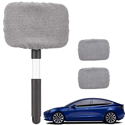 Tesla Model 3 Model Y Windshield Cleaning Tool Extendable Window Cleanser Brush with 3 Washable Reusable Microfiber Winter Accessories: Automotive [5Bkhe0407362]