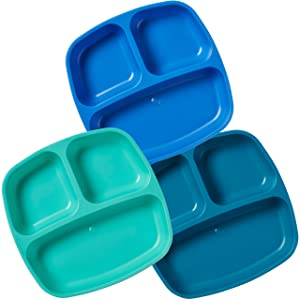 ECR4Kids My First Meal Pal Divided Toddler Plates – Stackable, BPA-Free Plastic Dishes, Dishwasher Safe, Portion Plate Set for Baby, Toddler and Child Feeding - 3-Pack, Tropical