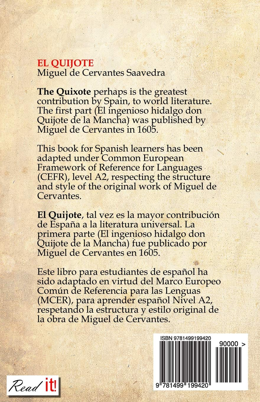 EL QUIJOTE: For Spanish Learners. Level A2 (Read in Spanish) (Volume 7) (Spanish Edition): Miguel de Cervantes, Read It!, J. A. Bravo, Francis Rodriguez: ...