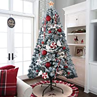 Deals on KINGSO 6ft Artificial Snow Flocked Full Christmas Trees