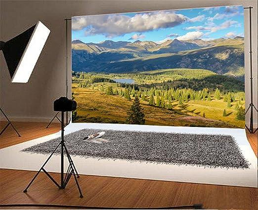 7x7FT Vinyl Photo Backdrops,Yosemite,Lake Mountain Sunset Photoshoot Props Photo Background Studio Prop