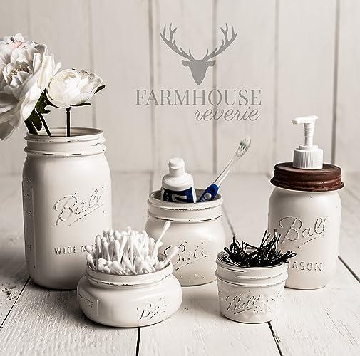 Beau White Rustic Mason Jar Bathroom Set | White Bathroom Storage Set |  Farmhouse Bathroom Decor |