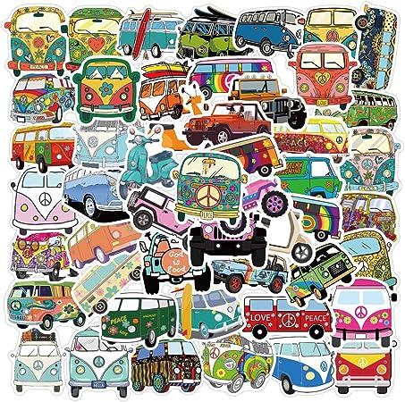 Multicolor Hippie Peace Van Sticker Decal