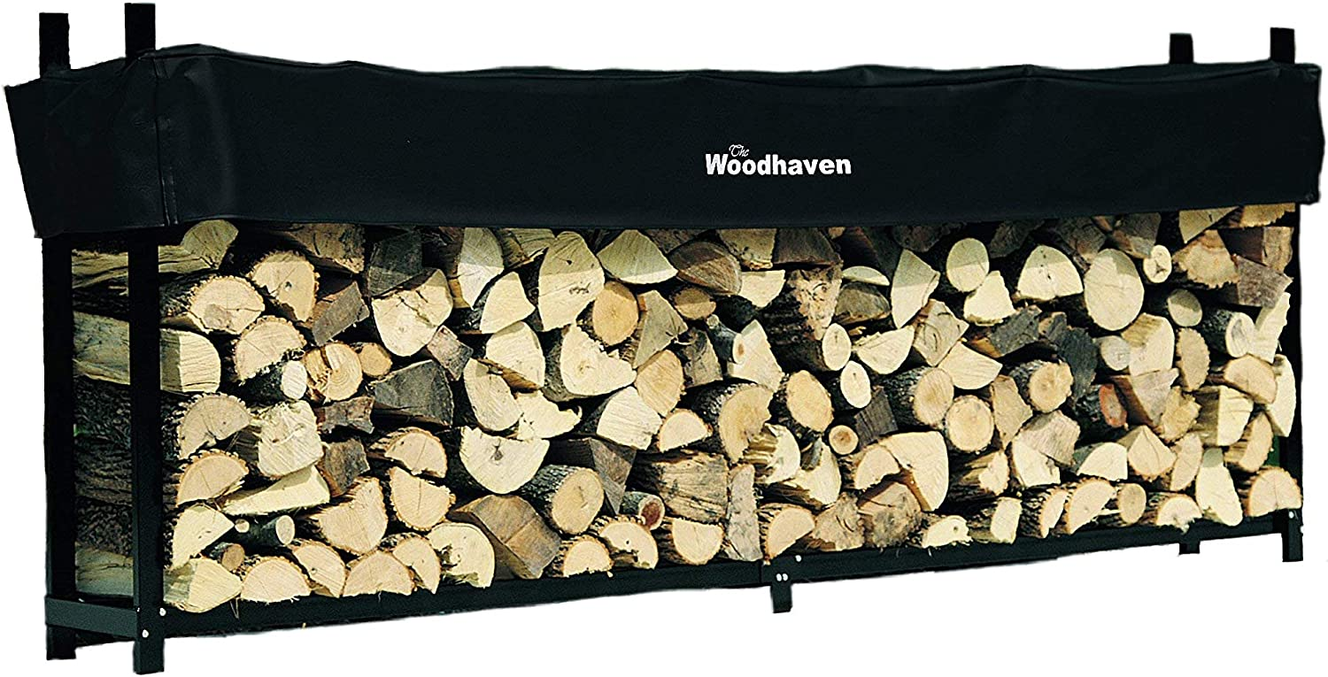 Woodhaven 10 Foot Firewood Log Rack with Cover